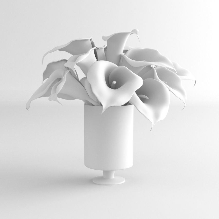 Calla Lily blomma glas vas 01 royalty-free 3d model - Preview no. 8