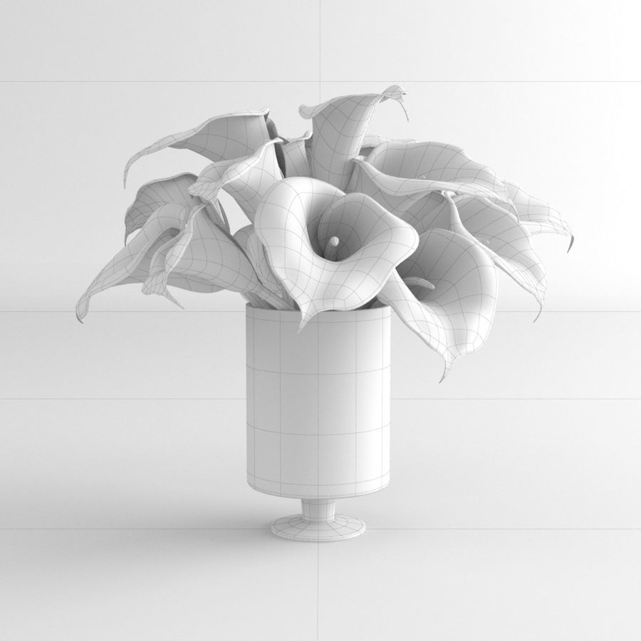 Calla Lily blomma glas vas 01 royalty-free 3d model - Preview no. 9