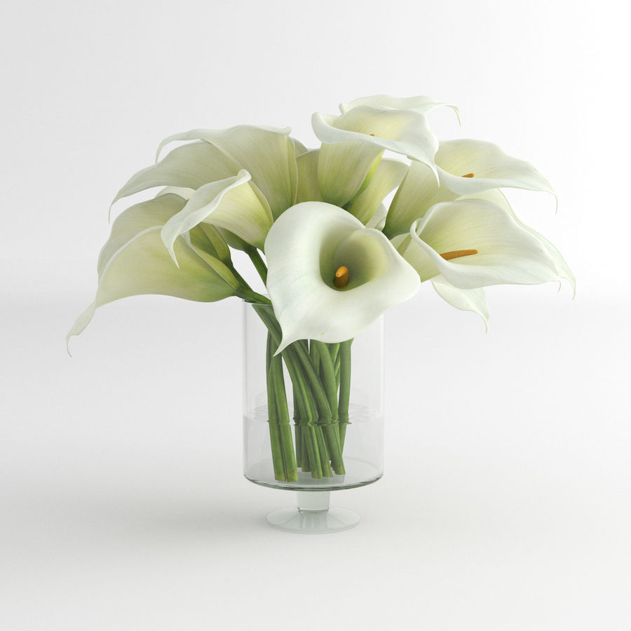 Calla Lily blomma glas vas 01 royalty-free 3d model - Preview no. 3