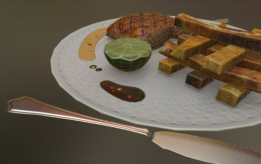 Plate of food royalty-free 3d model - Preview no. 7