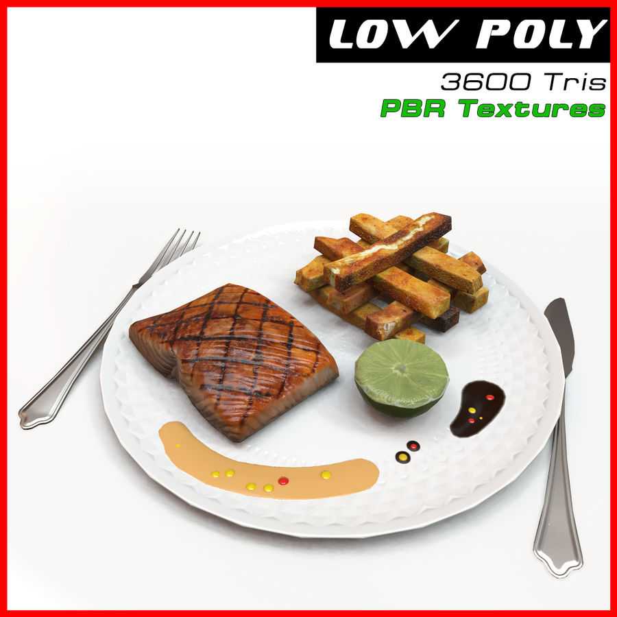 Plate of food royalty-free 3d model - Preview no. 1