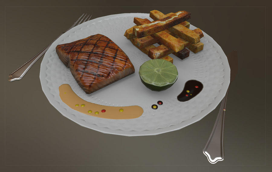 Plate of food royalty-free 3d model - Preview no. 2