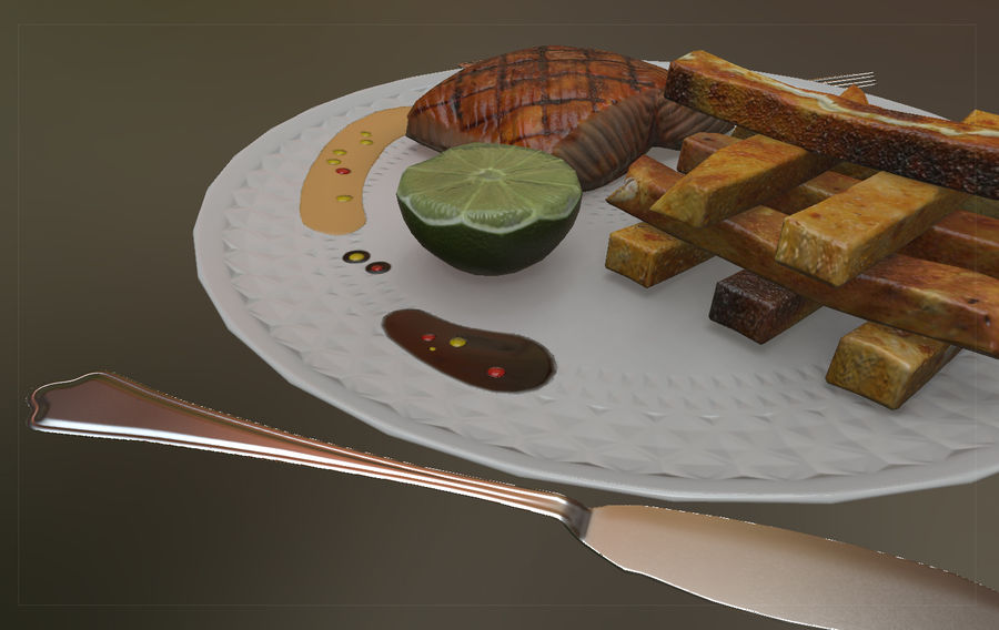 Plate of food royalty-free 3d model - Preview no. 6