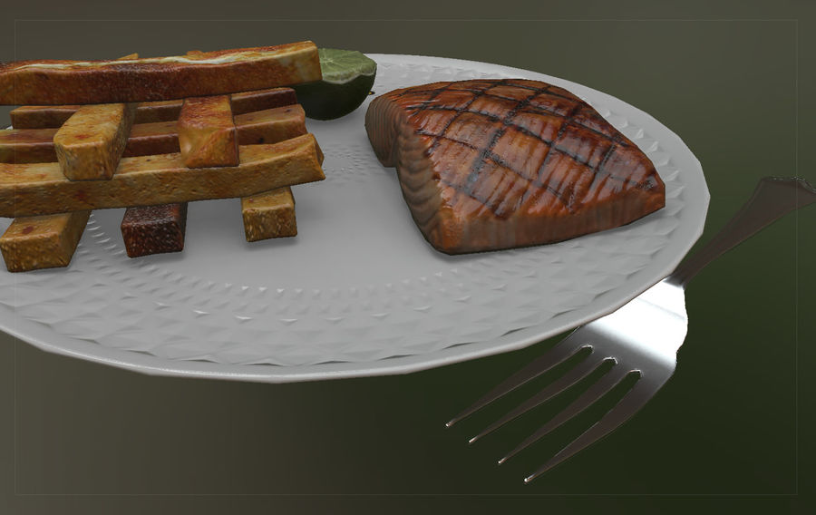Plate of food royalty-free 3d model - Preview no. 4