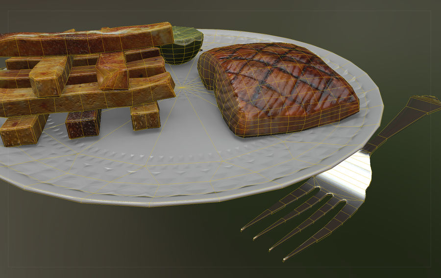 Plate of food royalty-free 3d model - Preview no. 5