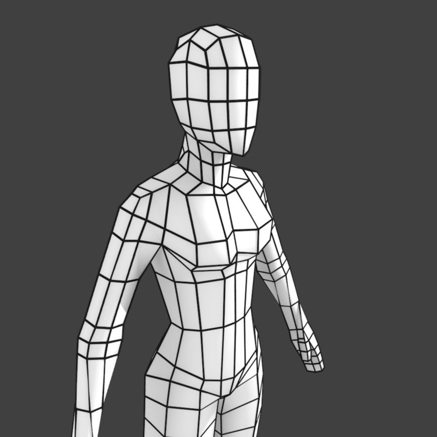 Generic Low-poly Basemesh Female royalty-free 3d model - Preview no. 4