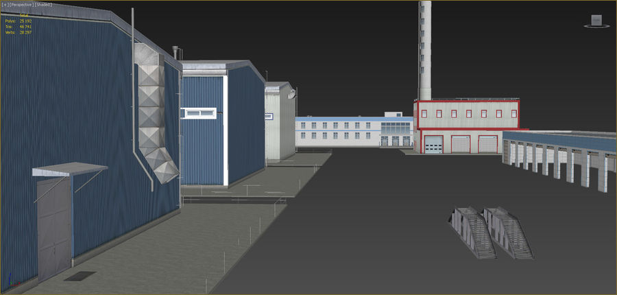 Industrial buildings set 2 royalty-free 3d model - Preview no. 15