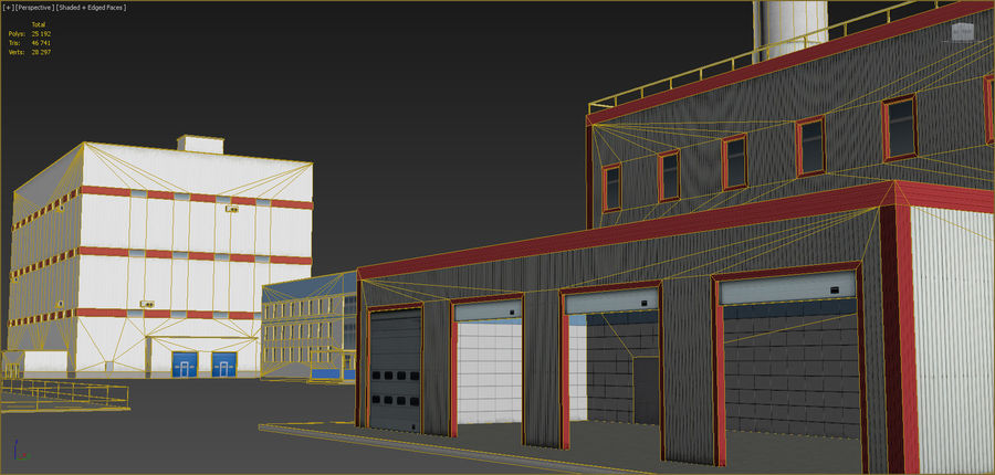 Industrial buildings set 2 royalty-free 3d model - Preview no. 14