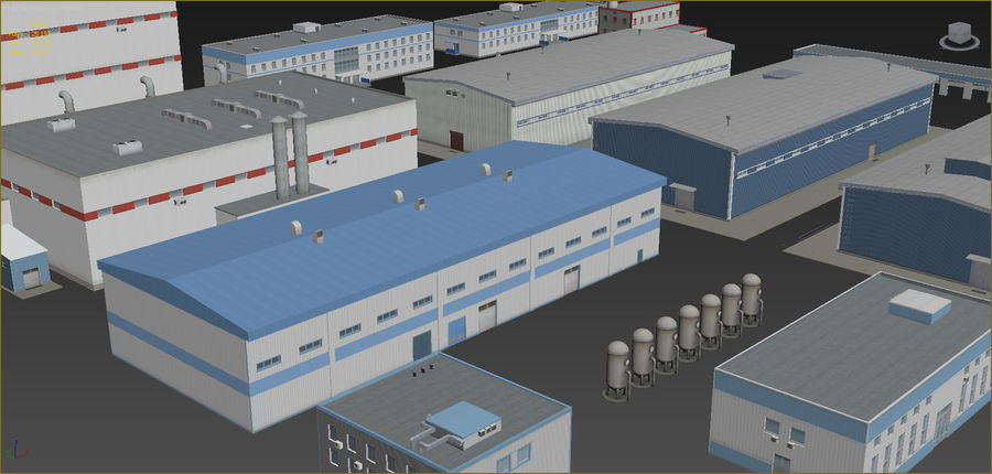 Industrial buildings set 2 royalty-free 3d model - Preview no. 3