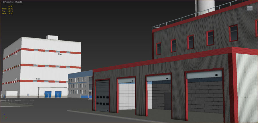 Industrial buildings set 2 royalty-free 3d model - Preview no. 13