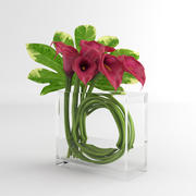 Calla Lily glass vase decor 05 3d model