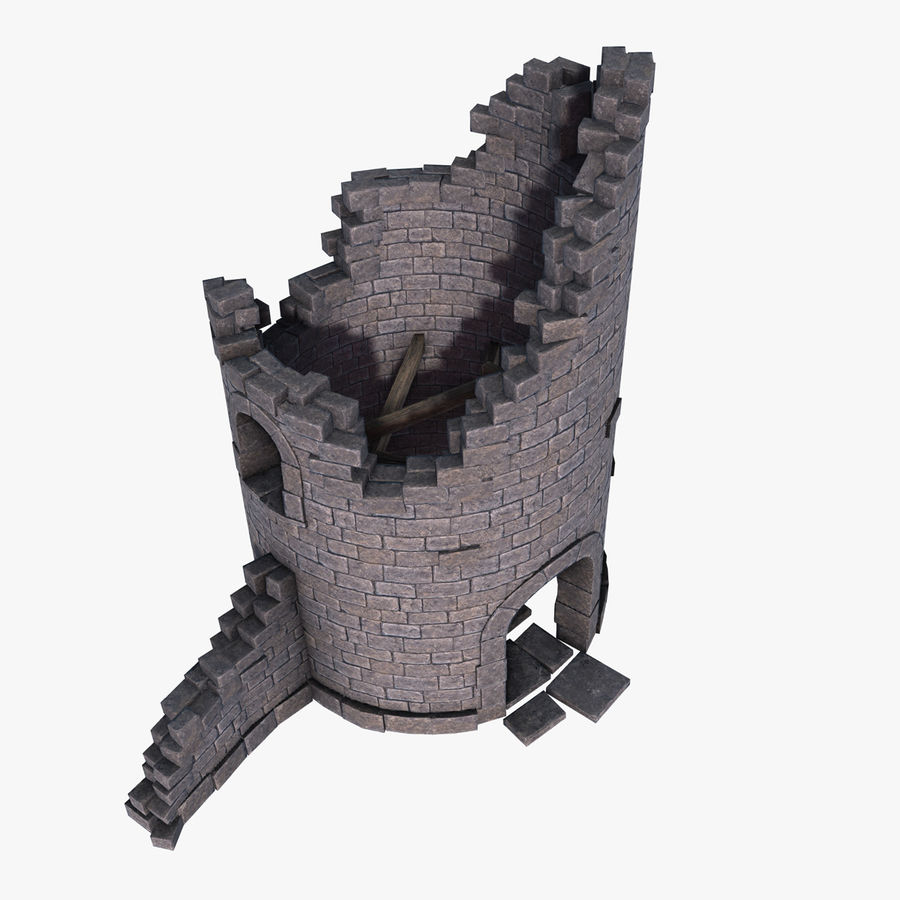 Ruined Tower royalty-free 3d model - Preview no. 3