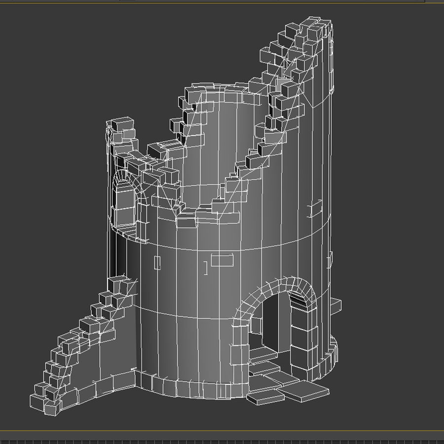Ruined Tower royalty-free 3d model - Preview no. 9