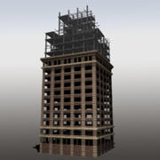 Unfinished building low poly 3d model