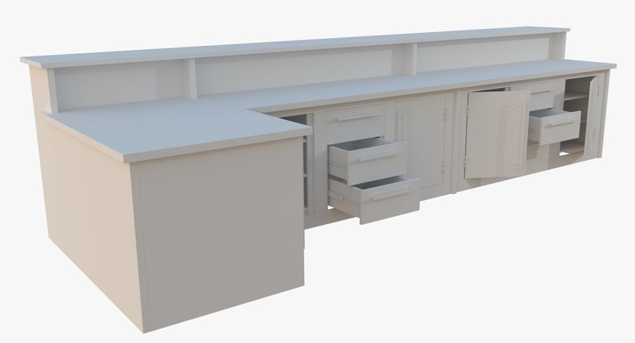 Kitchen counter one royalty-free 3d model - Preview no. 4