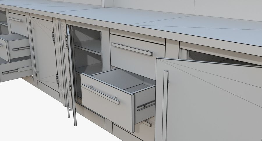 Kitchen counter one royalty-free 3d model - Preview no. 13