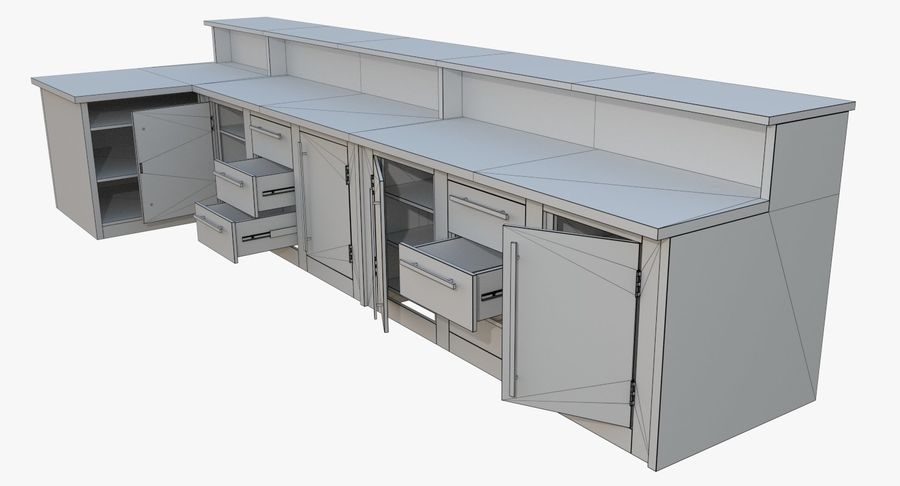 Kitchen counter one royalty-free 3d model - Preview no. 10