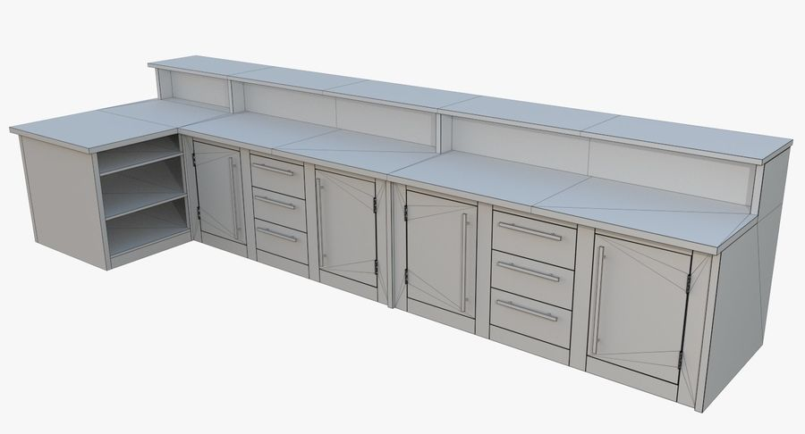 Kitchen counter one royalty-free 3d model - Preview no. 9