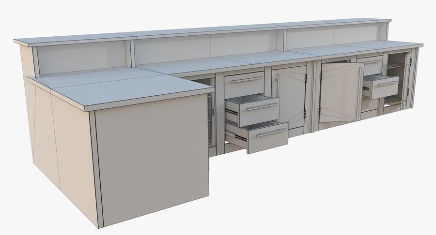 Kitchen counter one royalty-free 3d model - Preview no. 11