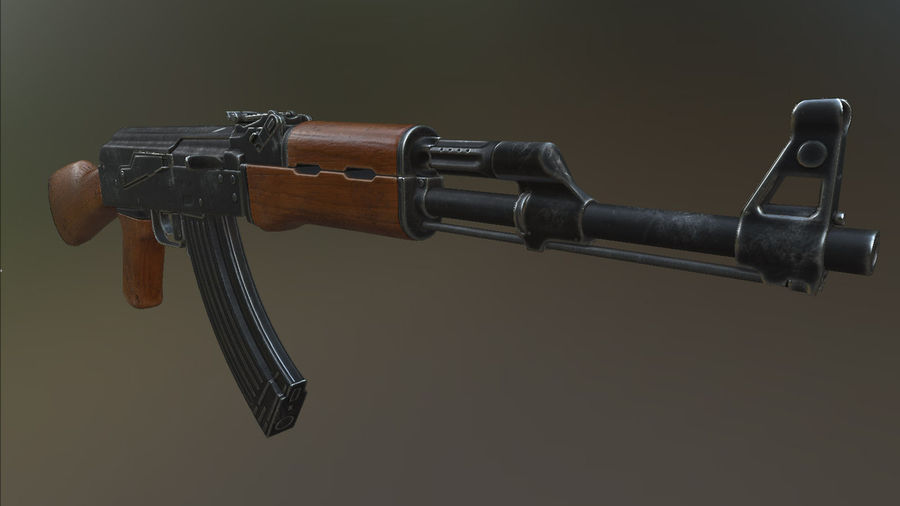 AK 47 royalty-free 3d model - Preview no. 2