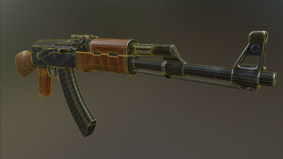 AK 47 royalty-free 3d model - Preview no. 3