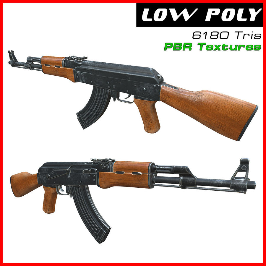 AK 47 royalty-free 3d model - Preview no. 1
