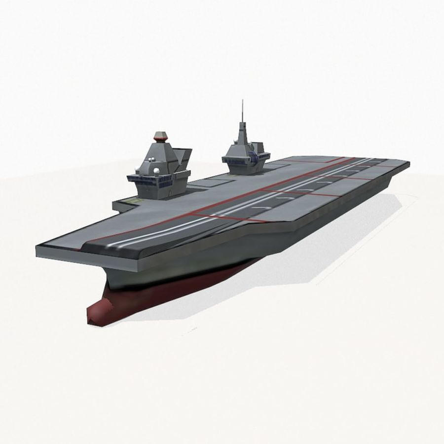 Queen-Elizabeth-class aircraft carrier royalty-free 3d model - Preview no. 2