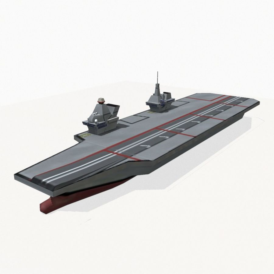 Queen-Elizabeth-class aircraft carrier royalty-free 3d model - Preview no. 3