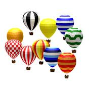 Cartoon laag poly baloons 3d model