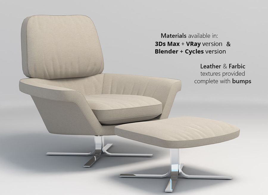 Minotti Blake-Soft lounge stol royalty-free 3d model - Preview no. 2