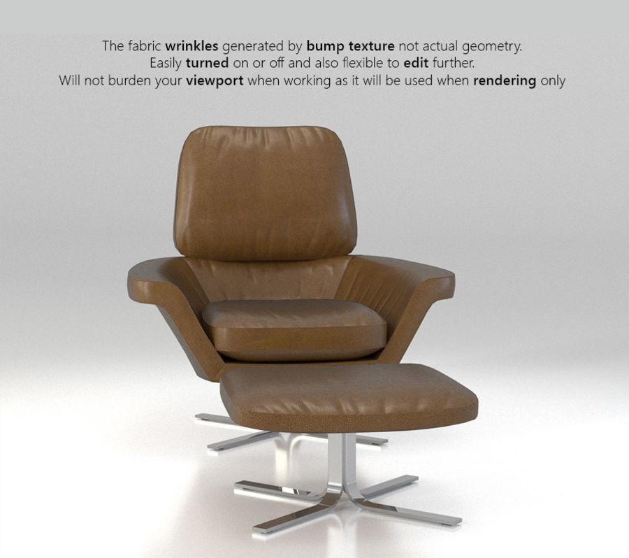 Minotti Blake-Soft lounge stol royalty-free 3d model - Preview no. 5