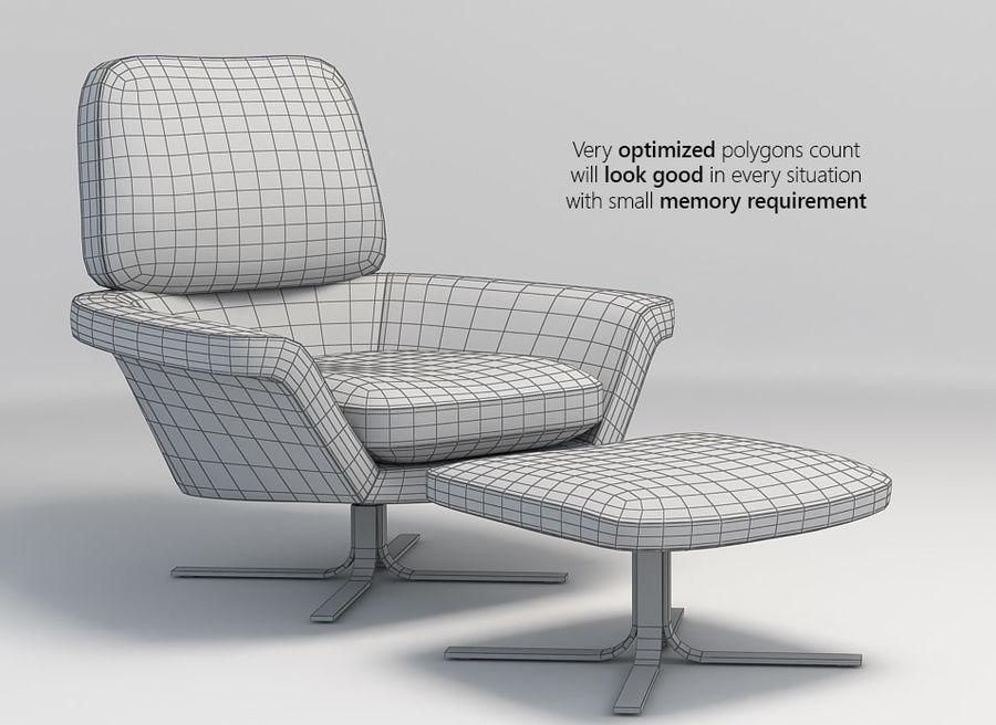 Minotti Blake-Soft lounge stol royalty-free 3d model - Preview no. 3