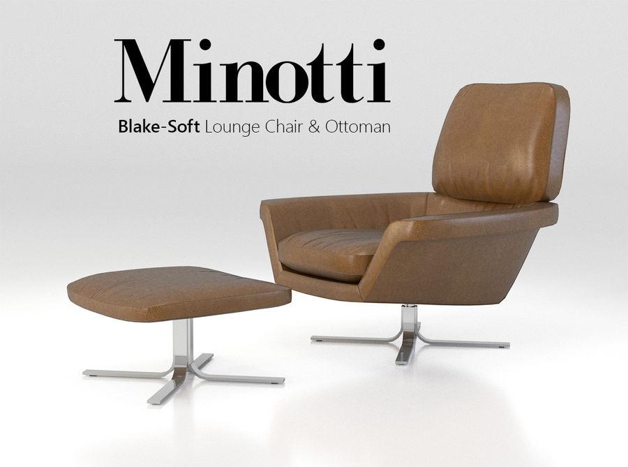 Minotti Blake-Soft lounge stol royalty-free 3d model - Preview no. 1