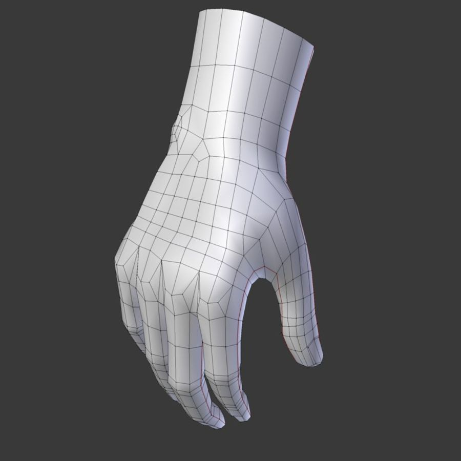 Realistic Low-poly Hand Base Mesh royalty-free 3d model - Preview no. 8