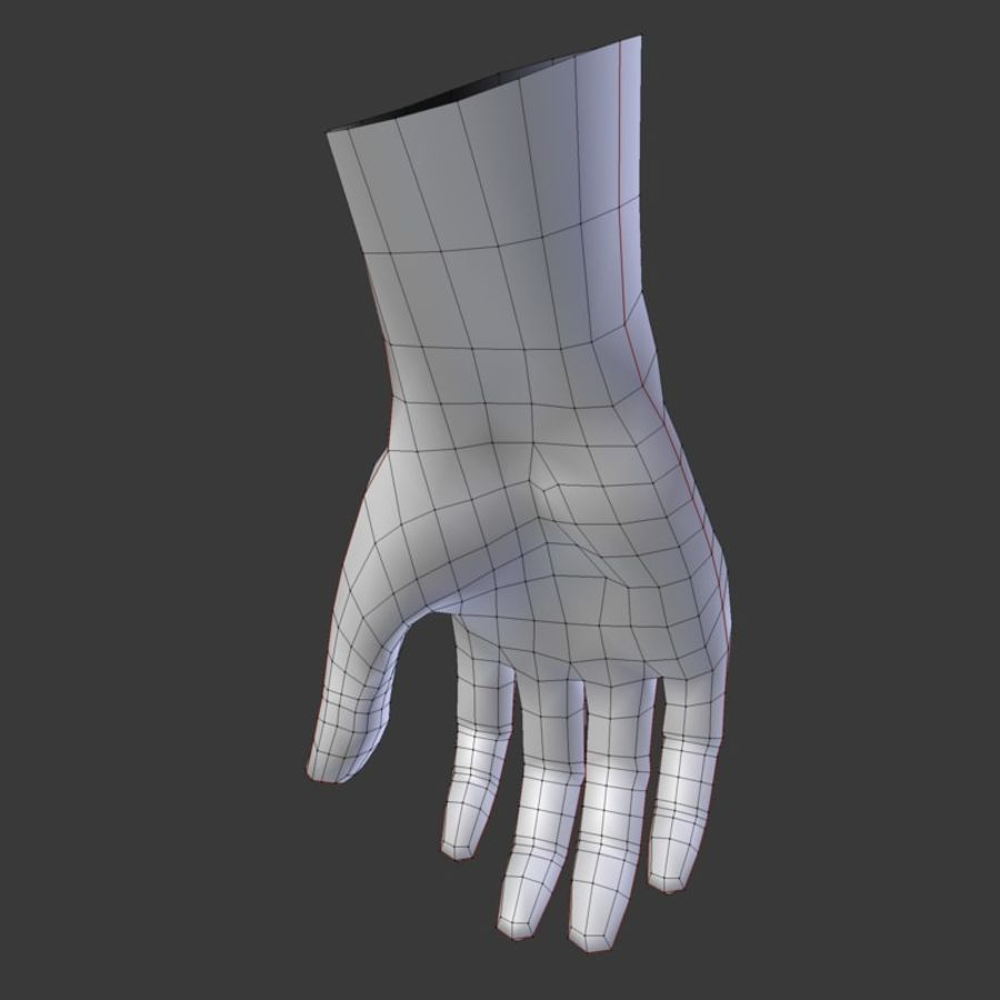 Realistic Low-poly Hand Base Mesh royalty-free 3d model - Preview no. 9