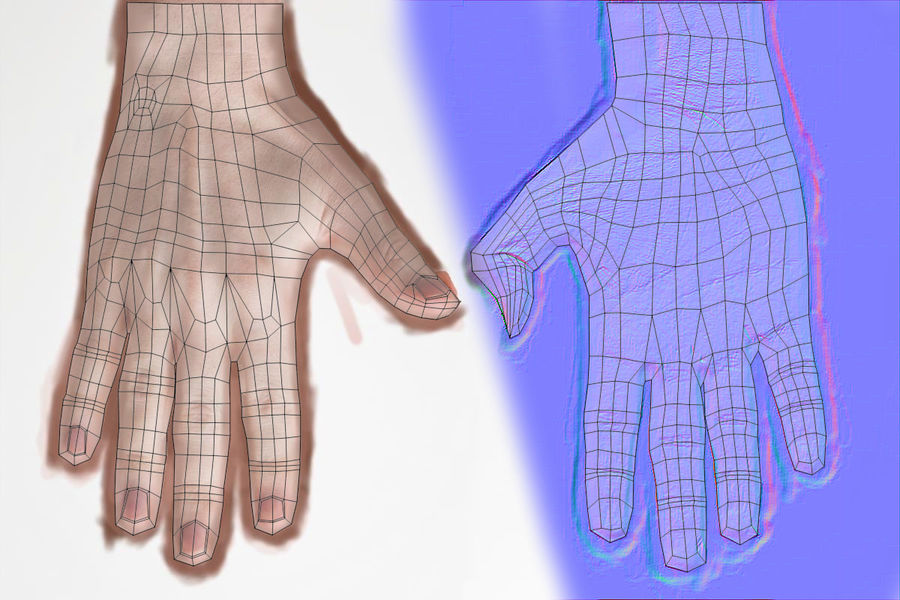 Realistic Low-poly Hand Base Mesh royalty-free 3d model - Preview no. 10