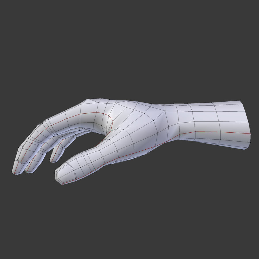 Realistic Low-poly Hand Base Mesh royalty-free 3d model - Preview no. 7