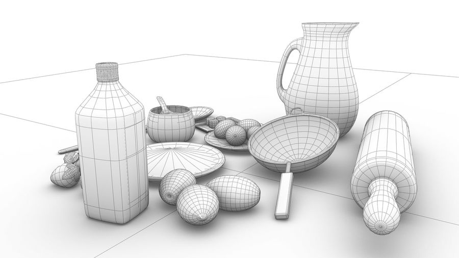 kitchen accessories royalty-free 3d model - Preview no. 7