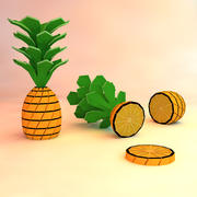 low poly pineapple (game ready) 3d model