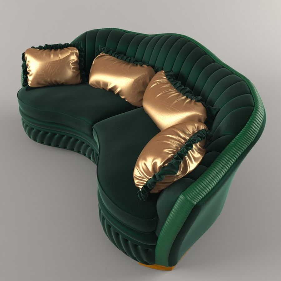 Sofa Zanaboni chester 2 seats royalty-free 3d model - Preview no. 4