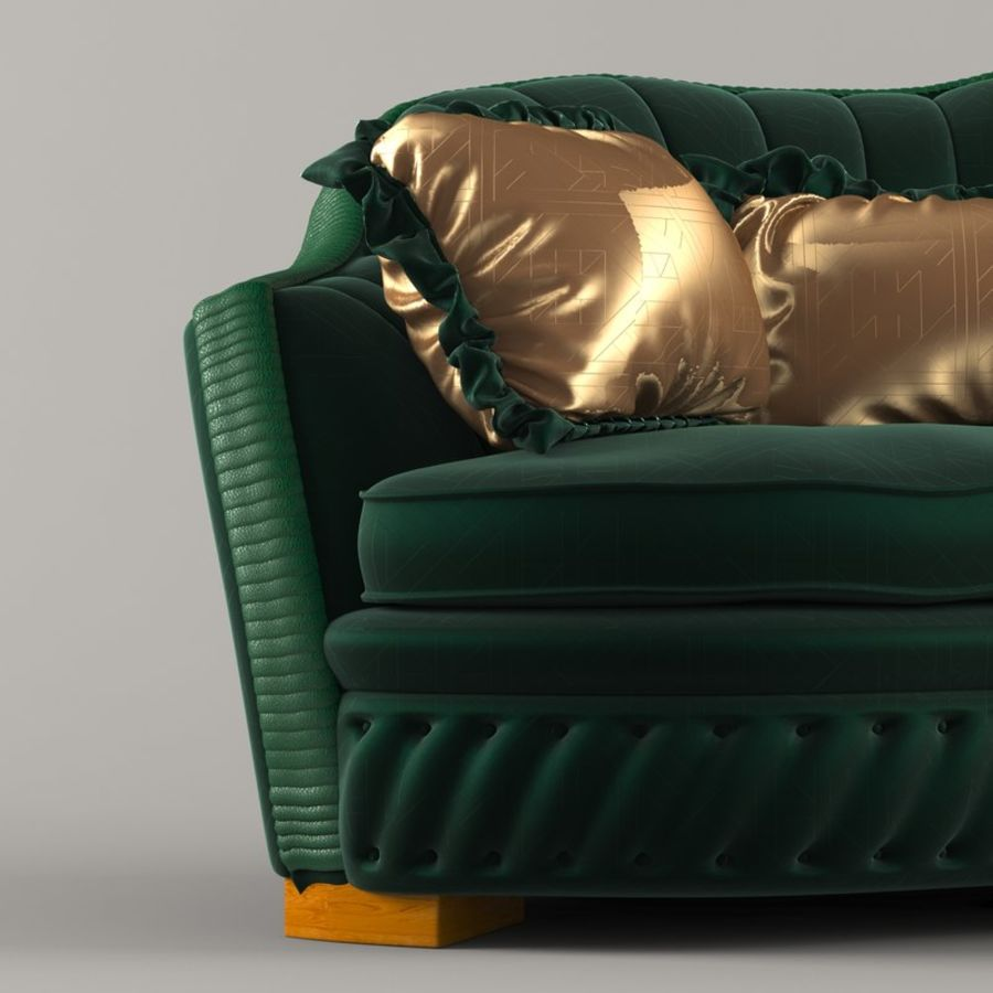 Sofa Zanaboni chester 2 seats royalty-free 3d model - Preview no. 3