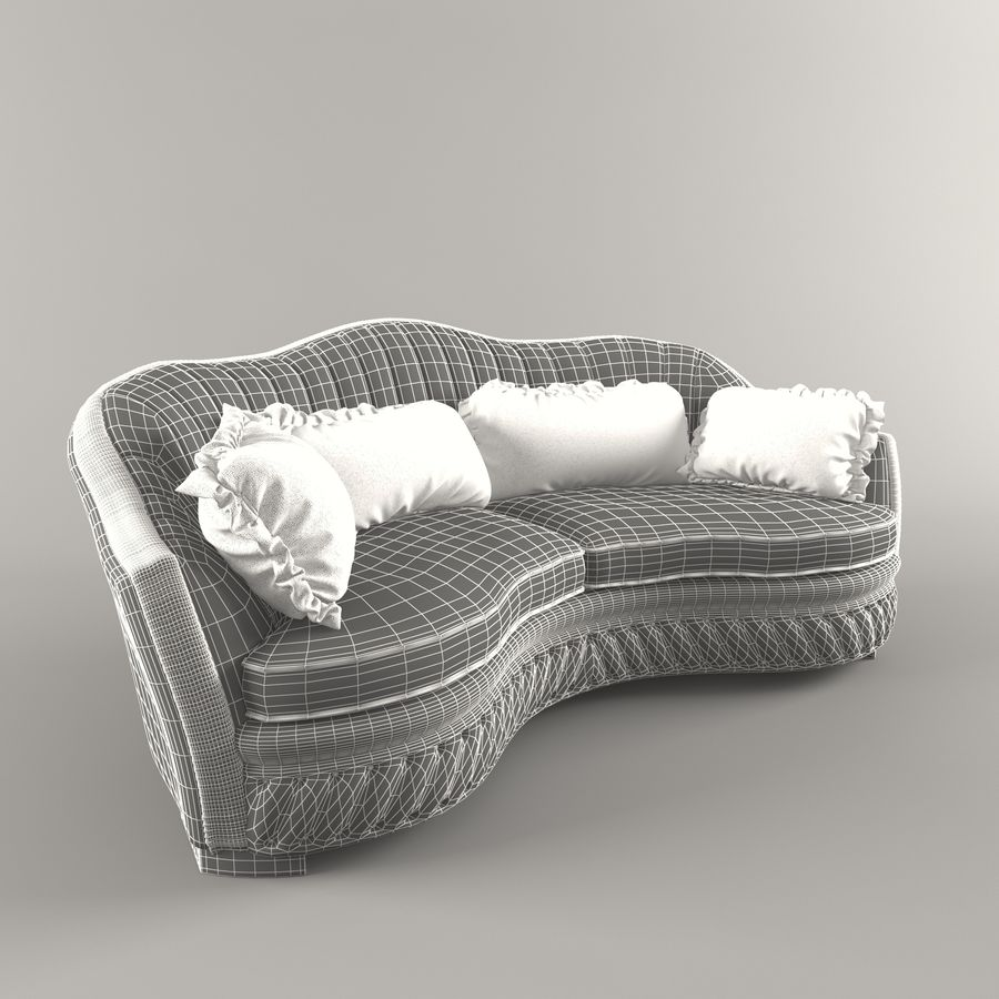 Sofa Zanaboni chester 2 seats royalty-free 3d model - Preview no. 7