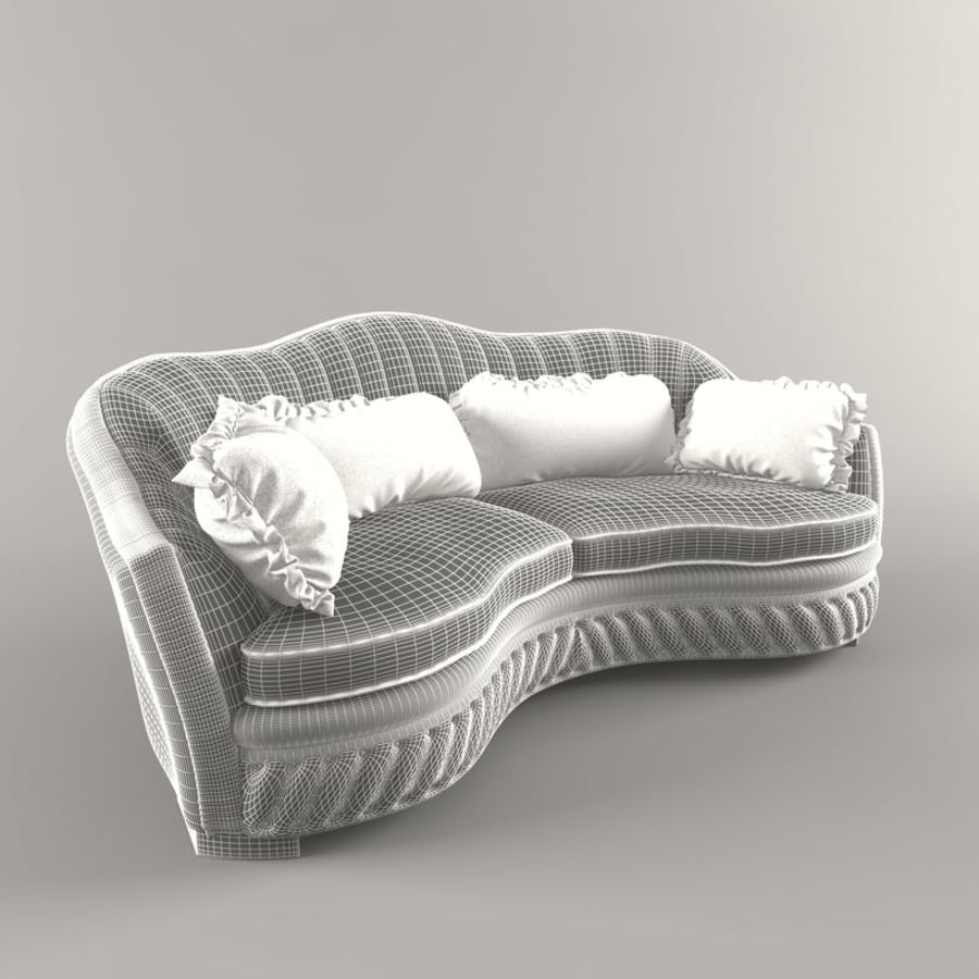 Sofa Zanaboni chester 2 seats royalty-free 3d model - Preview no. 8