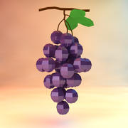 low poly grapes (game ready) 3d model