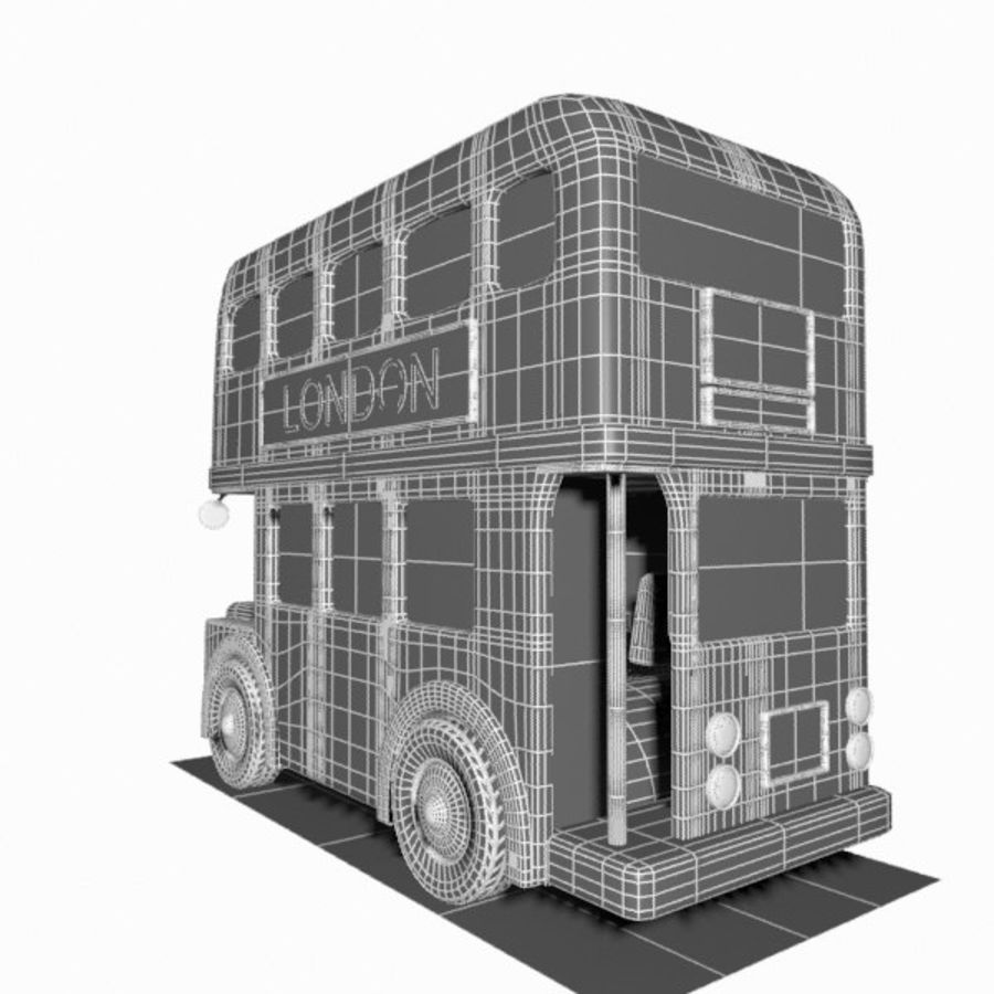 Cartoon Double-Decker Bus royalty-free 3d model - Preview no. 18