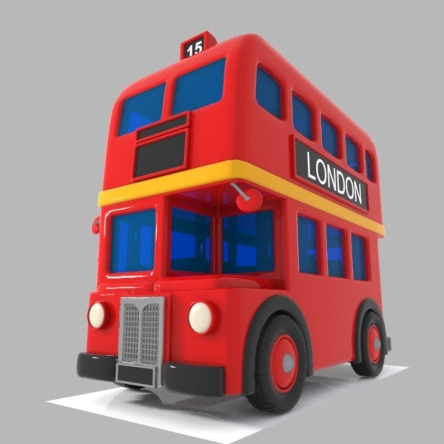 Cartoon Double-Decker Bus royalty-free 3d model - Preview no. 2