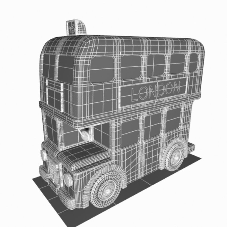 Cartoon Double-Decker Bus royalty-free 3d model - Preview no. 19