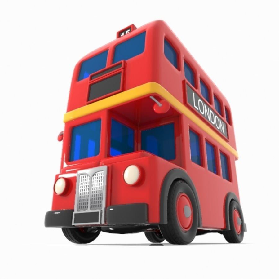 Cartoon Double-Decker Bus royalty-free 3d model - Preview no. 3