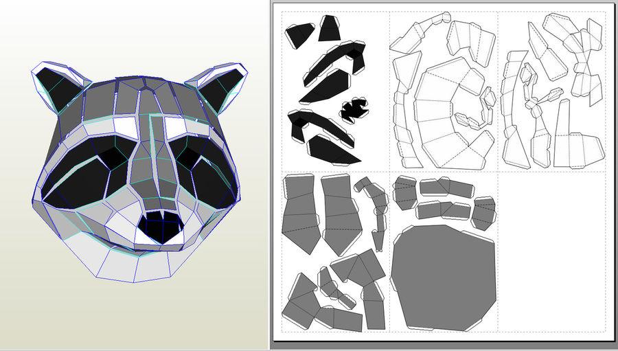 Papier de tête de raton laveur royalty-free 3d model - Preview no. 7