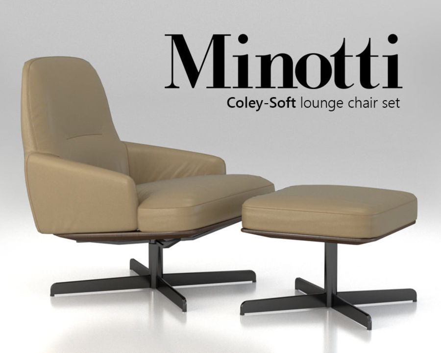 Minotti Coley-Soft lounge chair royalty-free 3d model - Preview no. 1 & Minotti Coley-Soft lounge chair 3D Model $10 - .obj .oth .fbx .dae ...